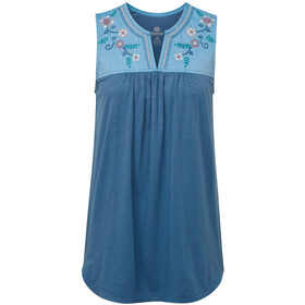 Sherpa Shaanti Embroidery Top Dames, tilicho blue